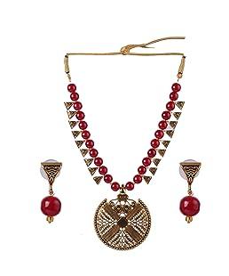 Darshini Designs Maroon Copper Collar Necklace for Women