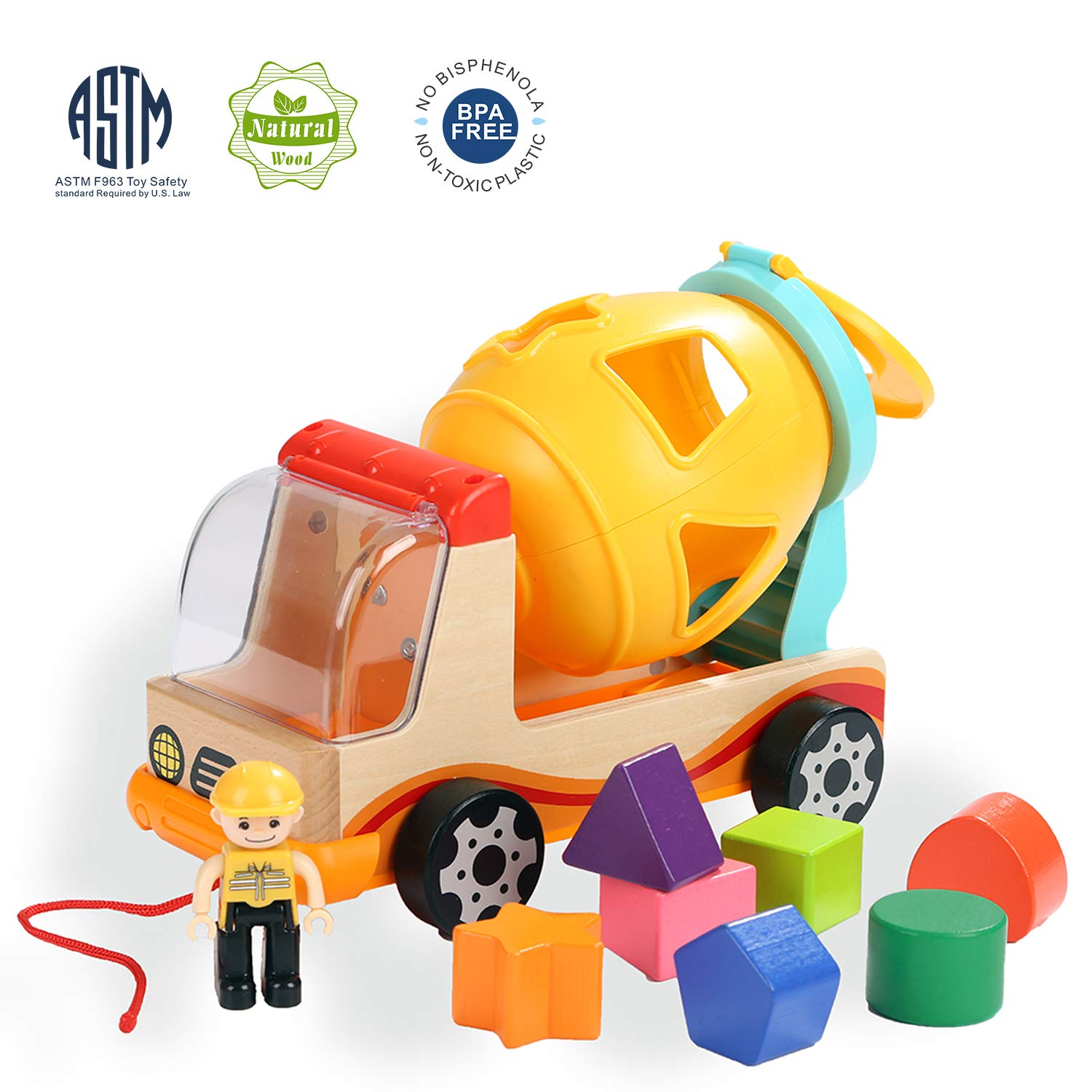TOP BRIGHT Shape Sorter Developmental Toys for Toddlers Learning Sort and Match with 7 Shapes