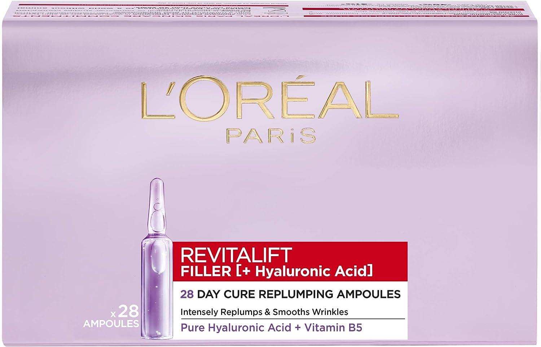 L Oréal Paris Ampollas Rellenadoras Revitalift Filler Para 28 Días Con ácido Hialurónico Puro Antiarrugas Piel Más Joven En 7 Días Para Rostro 1 3 Ml 28 Unidades Amazon Es Belleza
