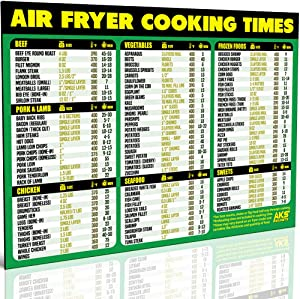 """Air Fryer Cooking Times Magnetic Cheat Sheet - Extra Large Easy to Read 11"""" x 8.5"""" Airfryer Kitchen Accessory - Quick Reference Guide Magnet for Over 90 Popular Airfry Foods - Cook Healthy Meals Fast"""