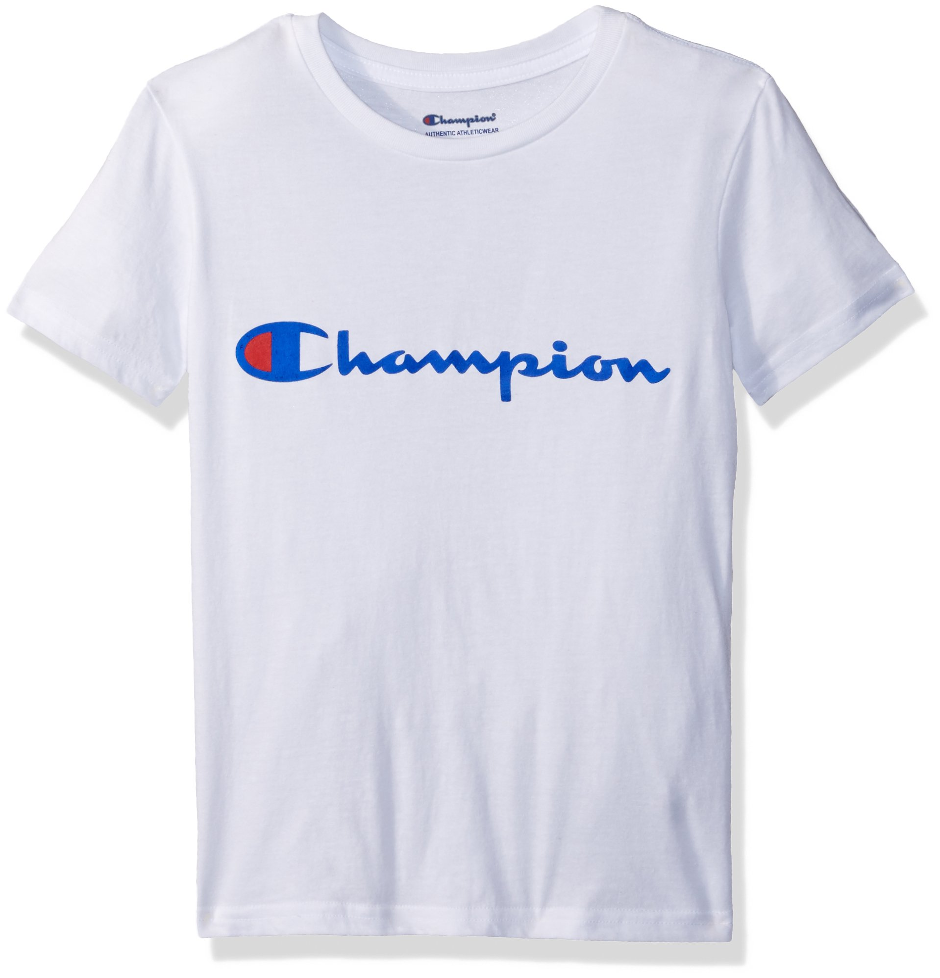 Champion Big Boys Heritage Short Sleeve Tee, White Script, Large by Champion