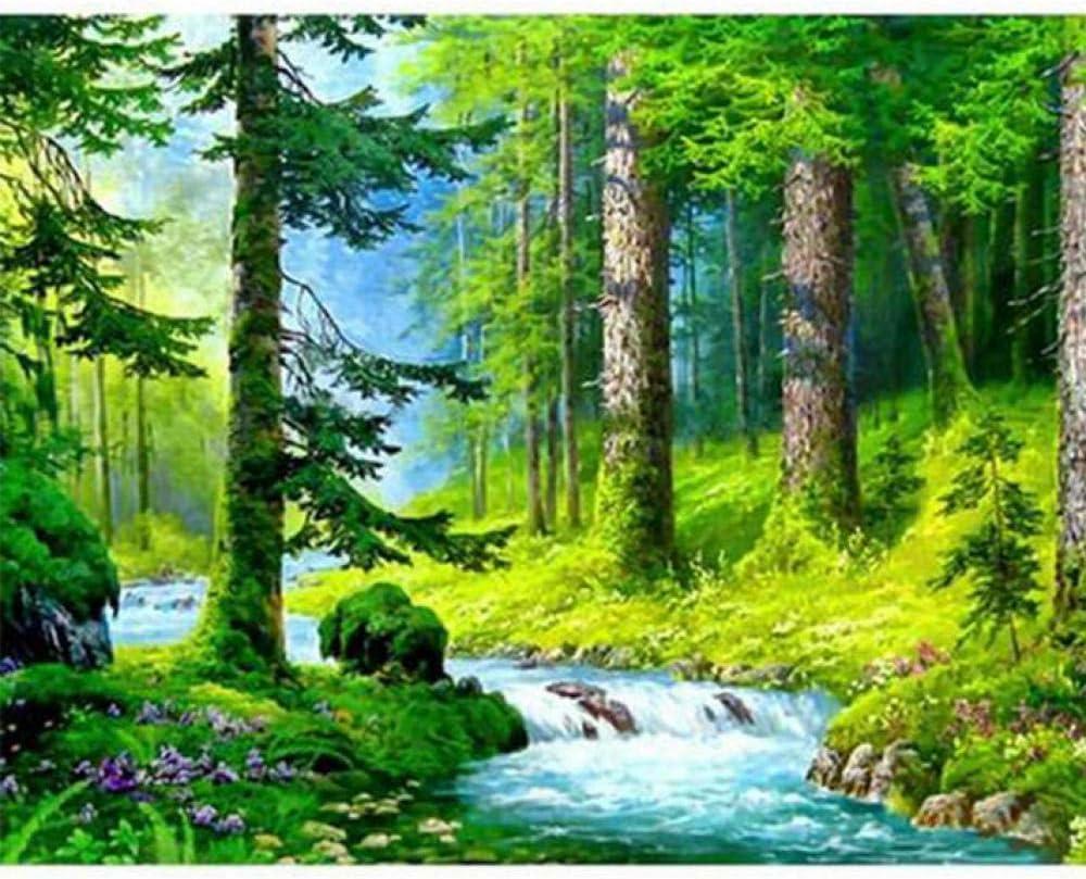 CydAgnF Bricolaje Digital Óleo Cuadro Bosque Pintura Al Óleo DIY Lienzo Pintura por Números Kits Decoración De Pared Regalos 40X50Cm