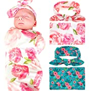 Newborn Baby Swaddle Blanket and Headband Value Set,Receiving Blankets( 2pc-Pink and Blue )