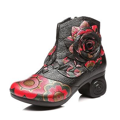 De Noir Mustang Bottes En Socofy FemmeBottines Cuir Ville Hauts Talons Hiver Chaussures Boots Fleurs Printemps Et À 2018Original Confortable 7f6byIYgv
