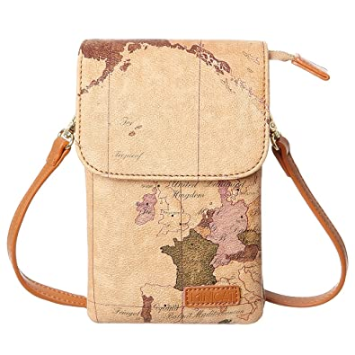 Minicat world map series synthetic leather small crossbody cell minicat world map series synthetic leather small crossbody cell phone purse wallet smartphone bags for women gumiabroncs Image collections