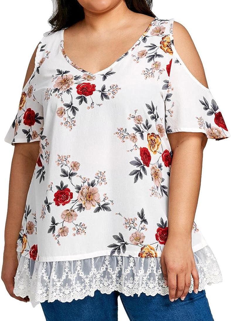 Camisetas Mujer Tallas Grandes S~5XL Xinantime Camisetas Mujer Verano Blusa Mujer Elegante Camisetas Mujer Manga Corta Algodón Camiseta Mujer Fiesta Camisetas Sin Hombros Mujer: Amazon.es: Ropa y accesorios