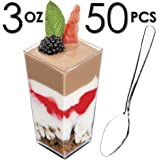 DLux 50 x 3 oz Mini Dessert Cups with Spoons, Square Tall - Clear Plastic Parfait Appetizer Cup - Small Disposable Reusable Serving Bowl for Tasting Party Desserts Appetizers - with Recipe Ebook