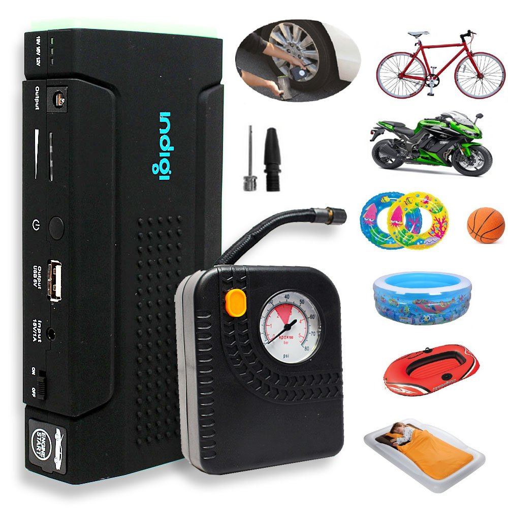 Indigi Powerful 12V Power Bank Car Jump Starter Tire Air Compressors & Inflators Power bank For iPhone Cellphone iPad Tablet Laptop Notebook PSP Camera GPS by inDigi (Image #5)