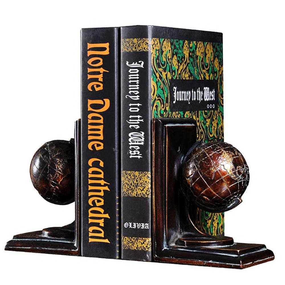 LPY-Set of 2 Bookends Resin Globe Style Handicrafts, Book Ends for Office or Study Room Home Shelf Decorative