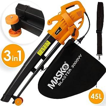 Aspirador de hojas eléctrico de MASKO®, 3 en 1, 3000 W, correa de hombro y ruedas, bolsa de 45 L, soplador de hojas, aspirador de jardín, Naranja: Amazon.es: Bricolaje y herramientas