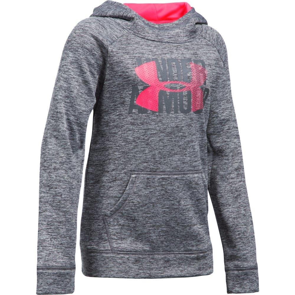 Under Armour 1309627  Girls' Armour Fleece Big Logo Printed Hoodie, Black/Black, Youth X-Large by Under Armour