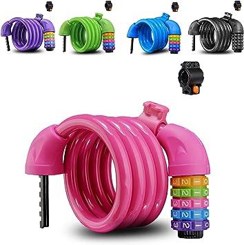 Candado para Bicicleta - Candados de Cable en Espiral Combinación ...