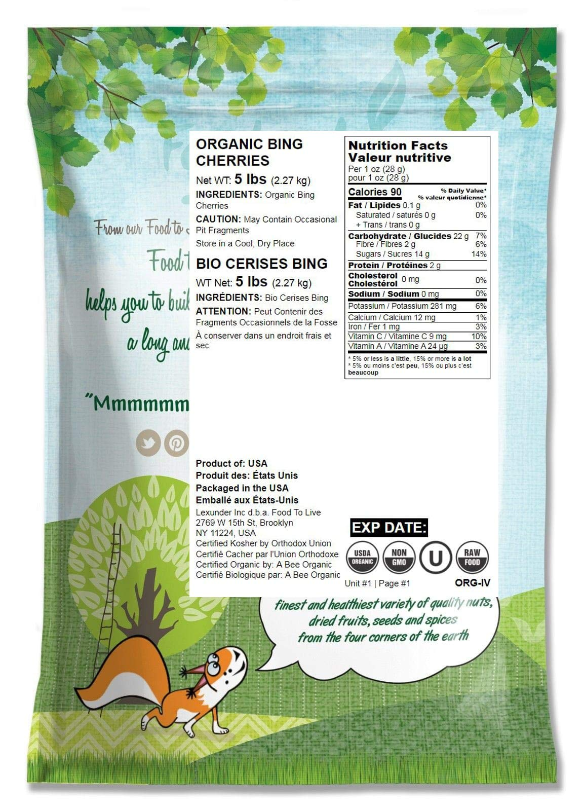 Organic Bing Cherries, 5 Pounds - California Sun-Dried Sour Cherries, Non-GMO, Kosher, Putted, Tart, Unsweetened, Unsulfured, Non-Infused, Non-Oil Added, Non-Irradiated, Vegan, Raw, Bulk by Food to Live (Image #2)