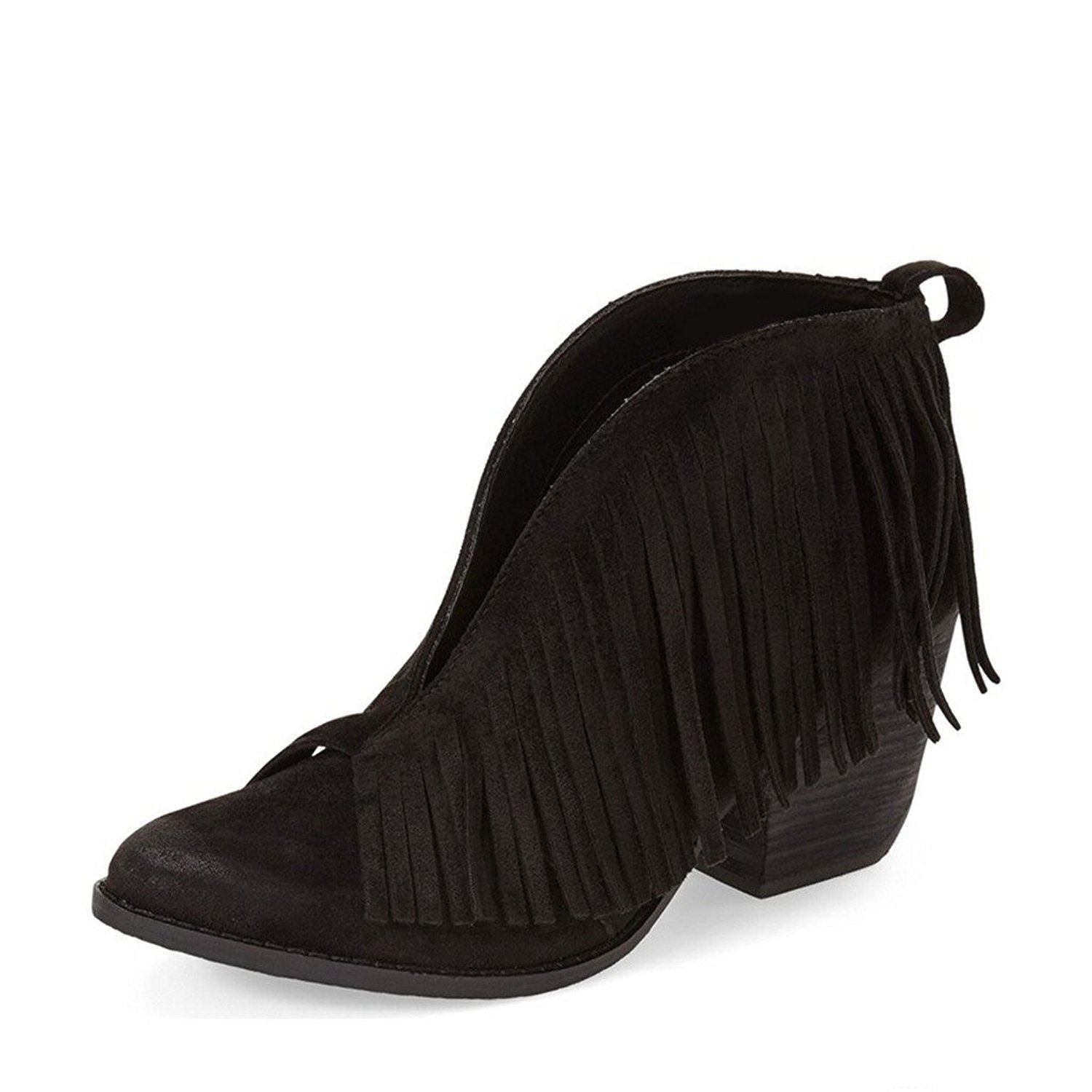 YDN Western Ankle High Boots with Tassels Round Retro Toe Block Heel Suede Retro Round Booties B01KC29L5A 9.5 B(M) US|Black c137c2