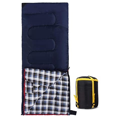 Blue 2lbs//3lbs 3-Season Comfortable and Warm Flannel Sleeping Bag for Camping Outdoor Hiking Travel CAMPMOON Cotton Sleeping Bags for Adults Portable with Compression Sack