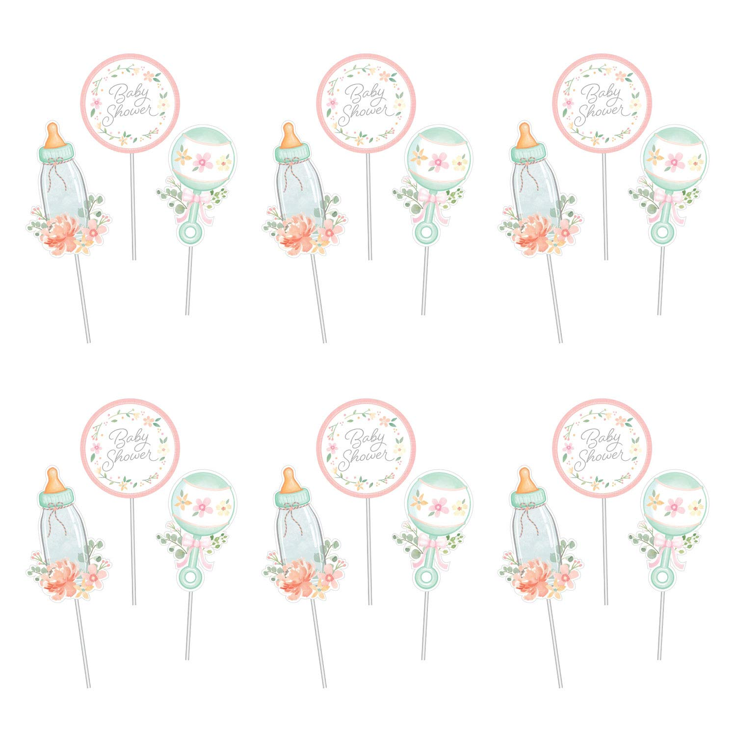 Baby Shower Decorations, Farmhouse Floral Design, 6 Centerpieces, 18 Sticks, 3 Designs, Baby Bottle, Rattle and ''Baby Shower''
