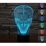 [New Item]Lmeison Joker 3D Optical Illusion Night Light Multi 7 LED Colors Change Desk Lamp with USB Cable Smart Touch Button Control,Best Gift for Kids,friends,birthdays,holidays,ect