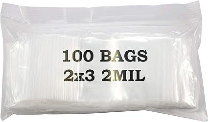 """100 Ziploc Zipper Bags Plastic Baggie Ziplock 2/"""" x 3/"""""""