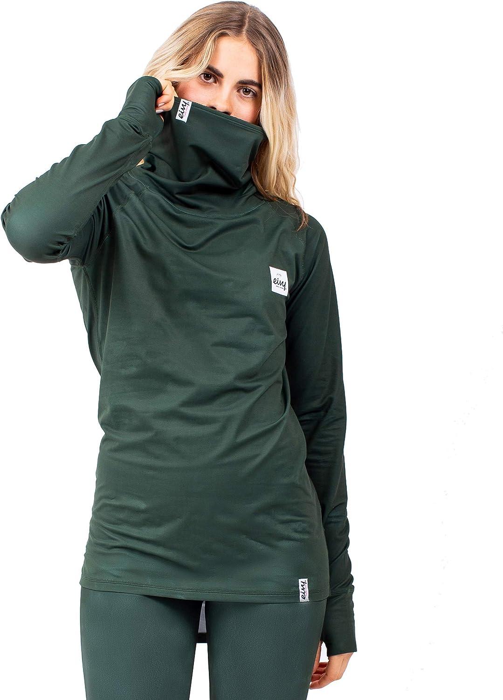 Eivy Damen Icecold Top Warme Ski-Thermo Funktionsunterw/äsche Langarm mit Integriertem Fleece Neckwarmer Funktionsw/äsche