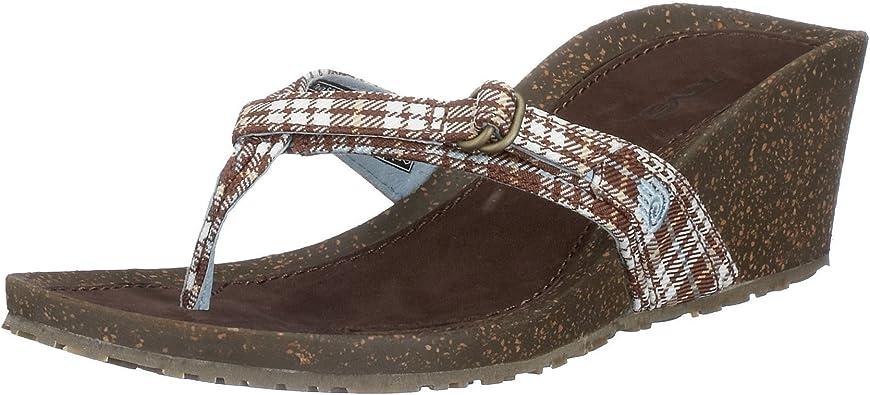 Amazon Com Teva Women S Ventura Thong Wedge Sandal Flip Flops