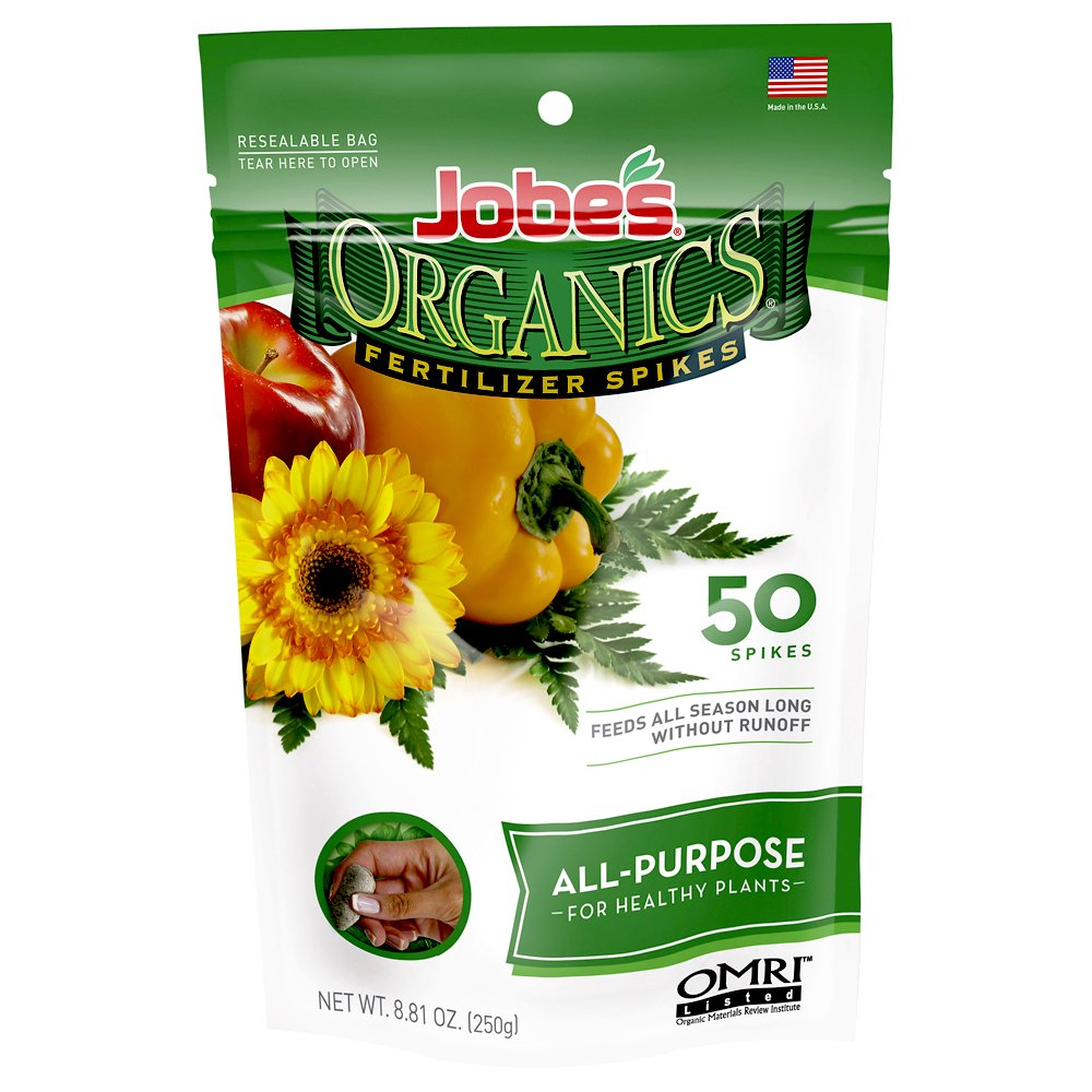 Jobe's Organics All Purpose Fertilizer Spikes, 4-4-4 Organic Time Release Fertilizer for All Plants, 50 Spikes per Package