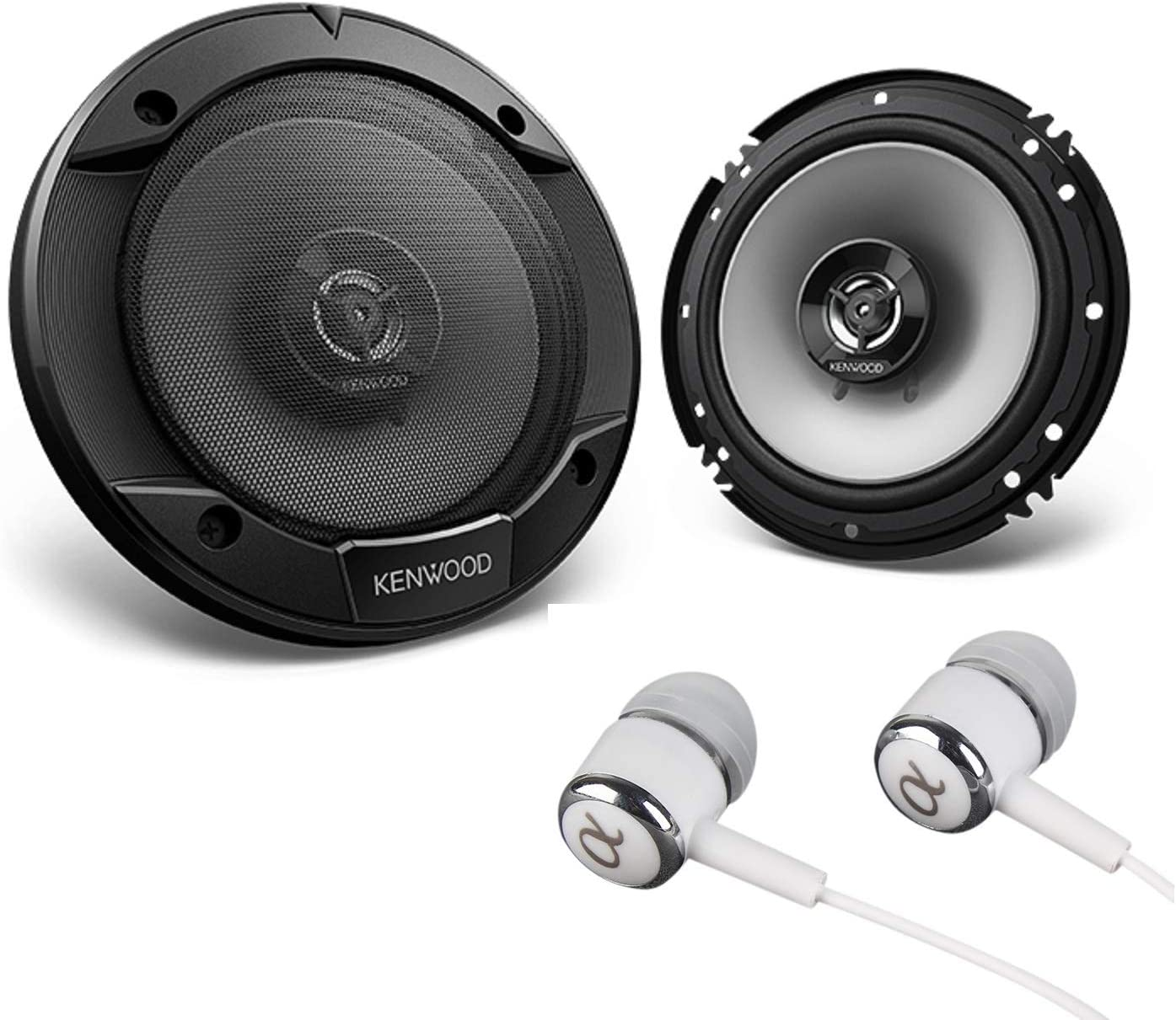 "Kenwood 6-1/2"" 300W Max (60W RMS per Pair) 6.5"" KFC 2-Way Sport Series Flush Mount Car Audio Door Coaxial Speakers Bundled with Alphasonik Earbuds"