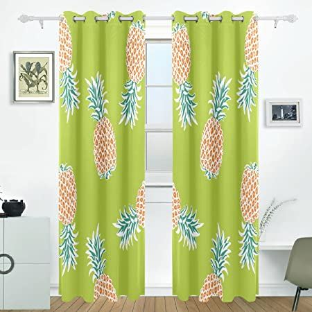 JSTEL Pineapple Curtains Drapes Panels Darkening Blackout Grommet Room Divider For Patio Window Sliding Glass Door