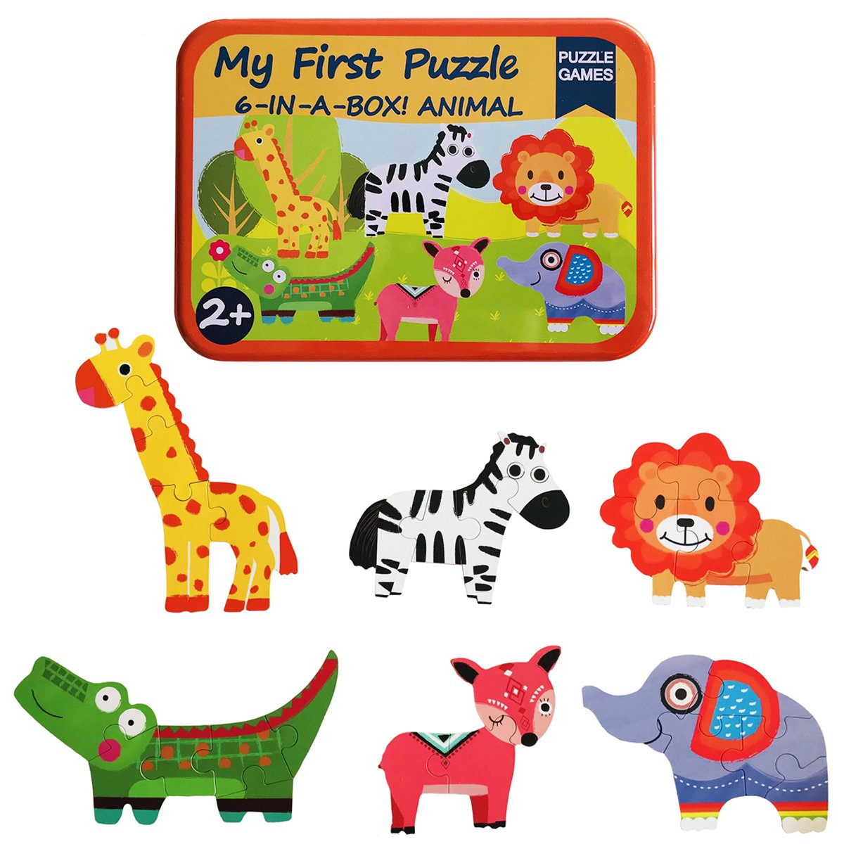 Humars Puzzle Games 6-In-A-Box! My First Animal Puzzle Set Wooden Jigsaw Puzzles For Boy & Girl Toddlers