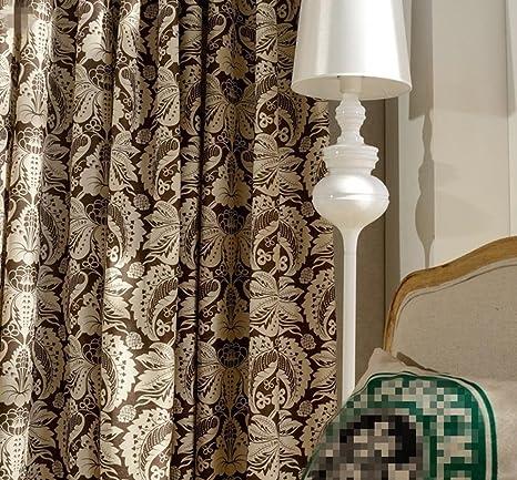 Cortinas opacas color café rural Yeh algodón e impresión de lino para estudio, sala de
