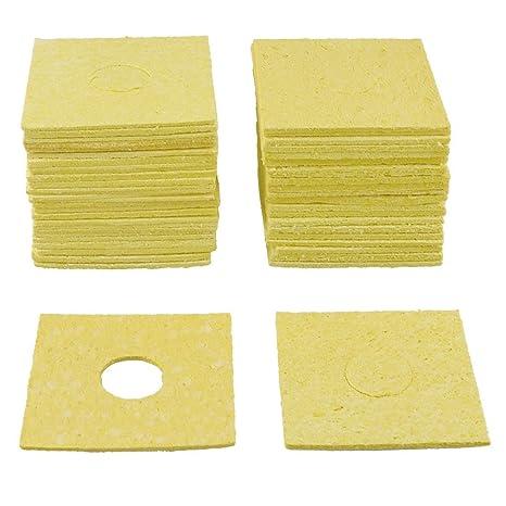 Esponja de soldador - TOOGOO(R)50Pzs Amarillo 60x60x3mm Esponja de limpieza de soldador