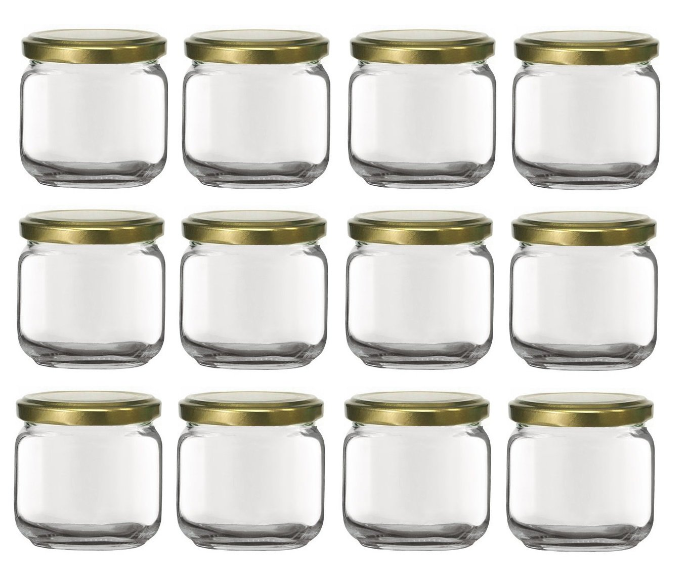 Nakpunar 12 pcs, 6.75 oz Square Glass Jars with Gold Lids - Rounded Edge - Made in Italy (Gold - 12 Jars)