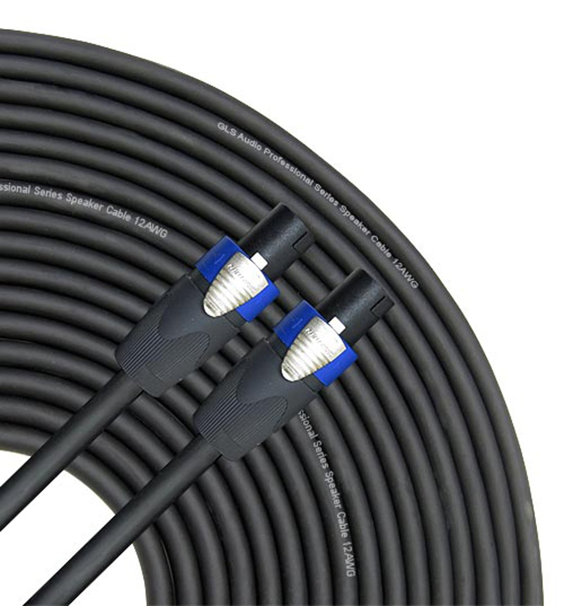 GLS Audio 50 feet Speaker Cable 12AWG Patch Cords - 50 ft Speakon to Speakon Professional Cables Black Neutrik NL4FX (NL4FC) 12 Gauge Wire - Pro 50' Speak-on Cord 12G - Single