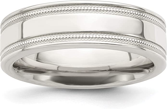 Jewelry Stores Network 4mm Flat Milgrain Sterling Silver Wedding Band Ring
