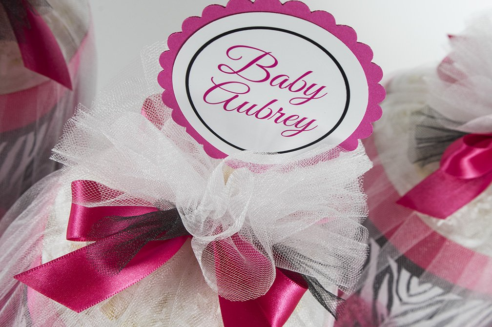 Five Hot Pink & Zebra Two Tier Mini Diaper Cakes. Baby Shower Centerpieces or Gift.