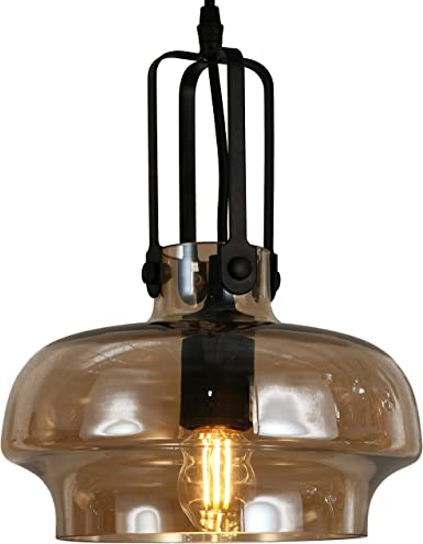 AMERICAN MANTLE Industrial Pendant Light with Amber Glass Single Bulb