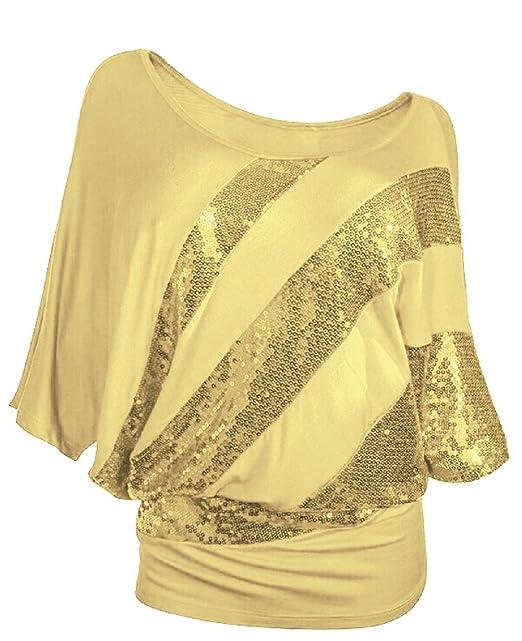 Landove Blusa con Lentejuelas Irregular Sequins Camiseta Manga Murcielago Mujer Fiesta Top Brillante Bling Barco Cuello