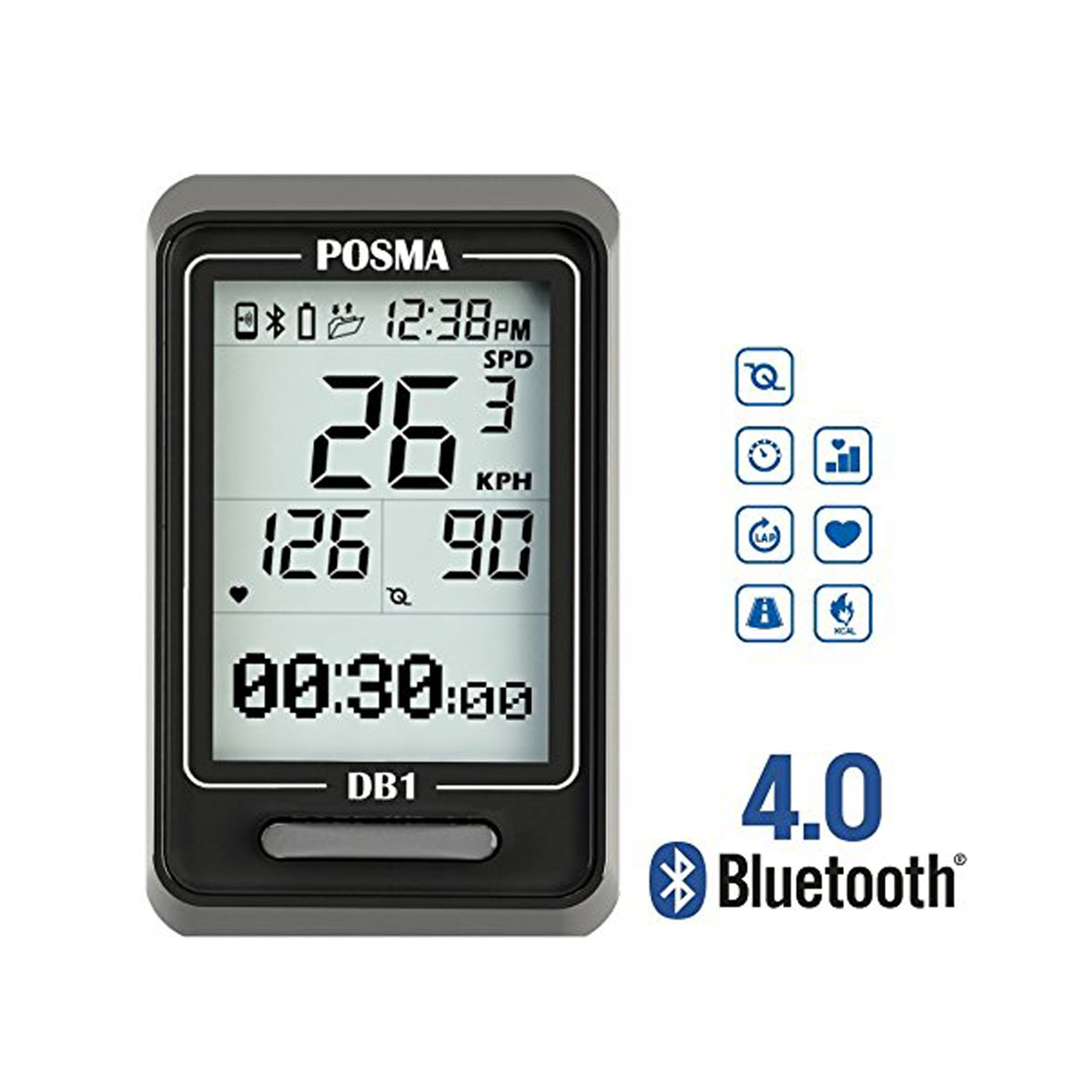 POSMA DB1 BLE4.0 Cycling Computer Speedometer Odometer Speed Track, Support GPS by iPhone and Android Smartphone