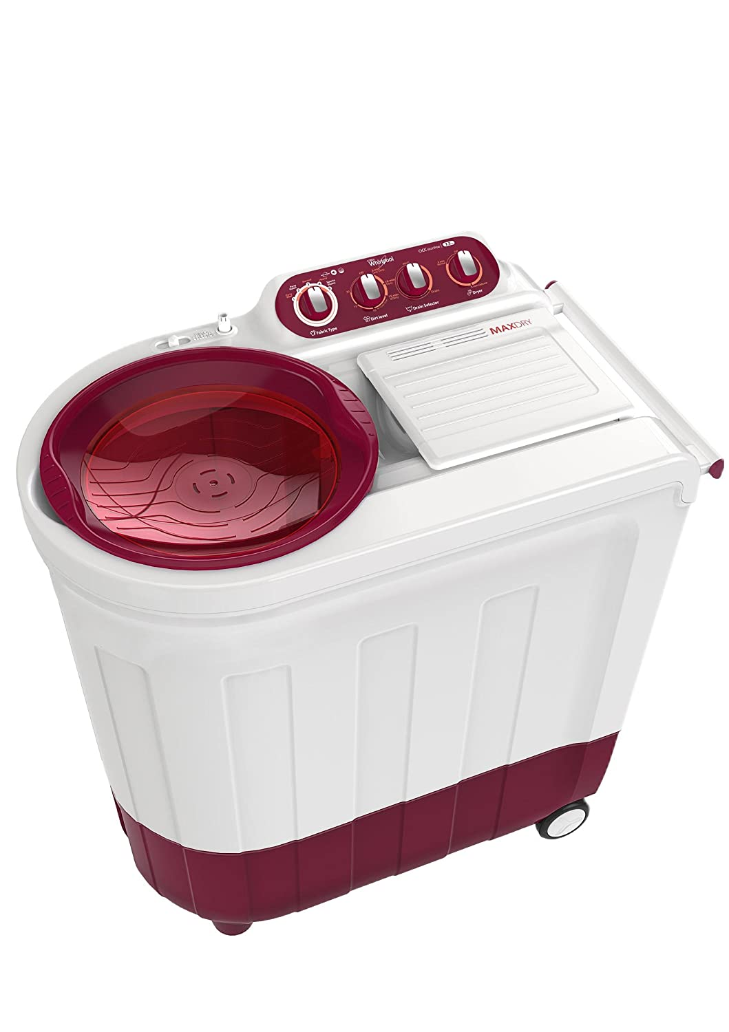 Whirlpool 8 kg Semi-Automatic Top Loading Washing Machine (ACE 8.0 TURBODRY, Coral Red)