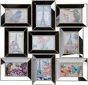 Spiegel Mit Bilderrahmen amazon de bilderrahmen spiegel 9 bilder 56x56cm