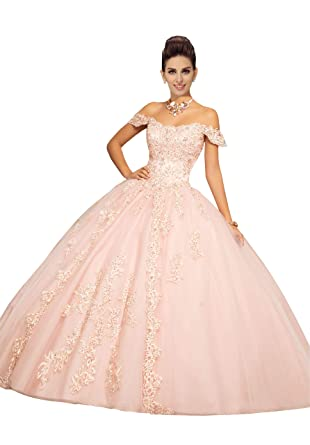 484f6762ee55 Fannydress 2019 Off The Shoulder Prom Dresses with Sleeve Lace Applique  Crystal Beaded Quinceanera Dress Gowns at Amazon Women's Clothing store: