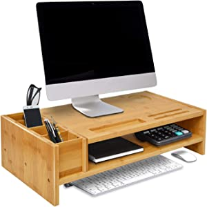 WAYTRIM 2-Tier Bamboo Monitor Stand, Wood Computer Monitor Riser, Wooden Desk Organizers with Adjustable Storage Accessories Shelf for iMac, Laptop, Printer