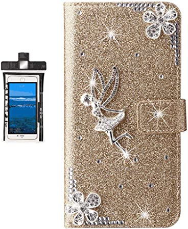 Leather Flip Case for Samsung Galaxy Note8 Wallet Cover with Viewing Stand and Card Slots Bussiness Phone Case with Free Waterproof Case