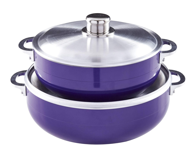 IMUSA USA CHI-80680 2 Piece Purple Caldero (Dutch Oven Set with Aluminum Lid (4.4Qt, 6.9Qt) Oven Safe