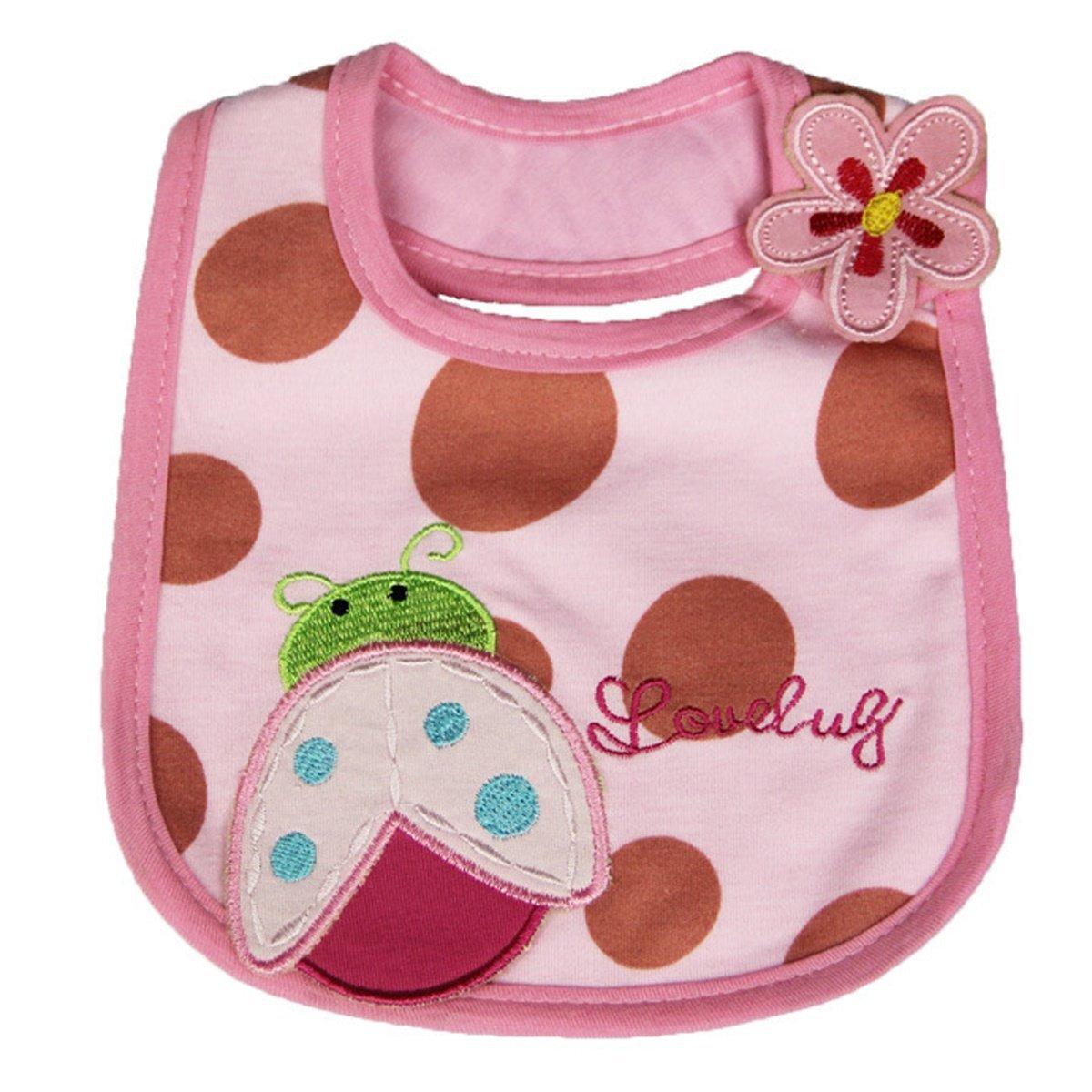 Happy cherry -(set de 4)Baberos Toallita de Babas Absorbente de Algodón Suave para Bebés Niñas Recién Nacidos de Dibujo Lindo - Mariquita + Vaca + Pez + ...