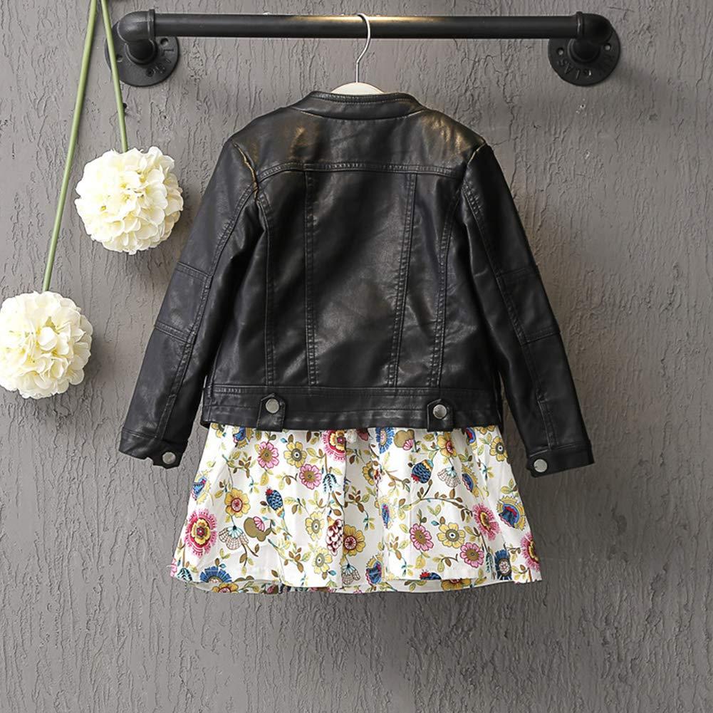 Verypoppa Little Girls Boys Leather Jacket Coat Outerwear Top