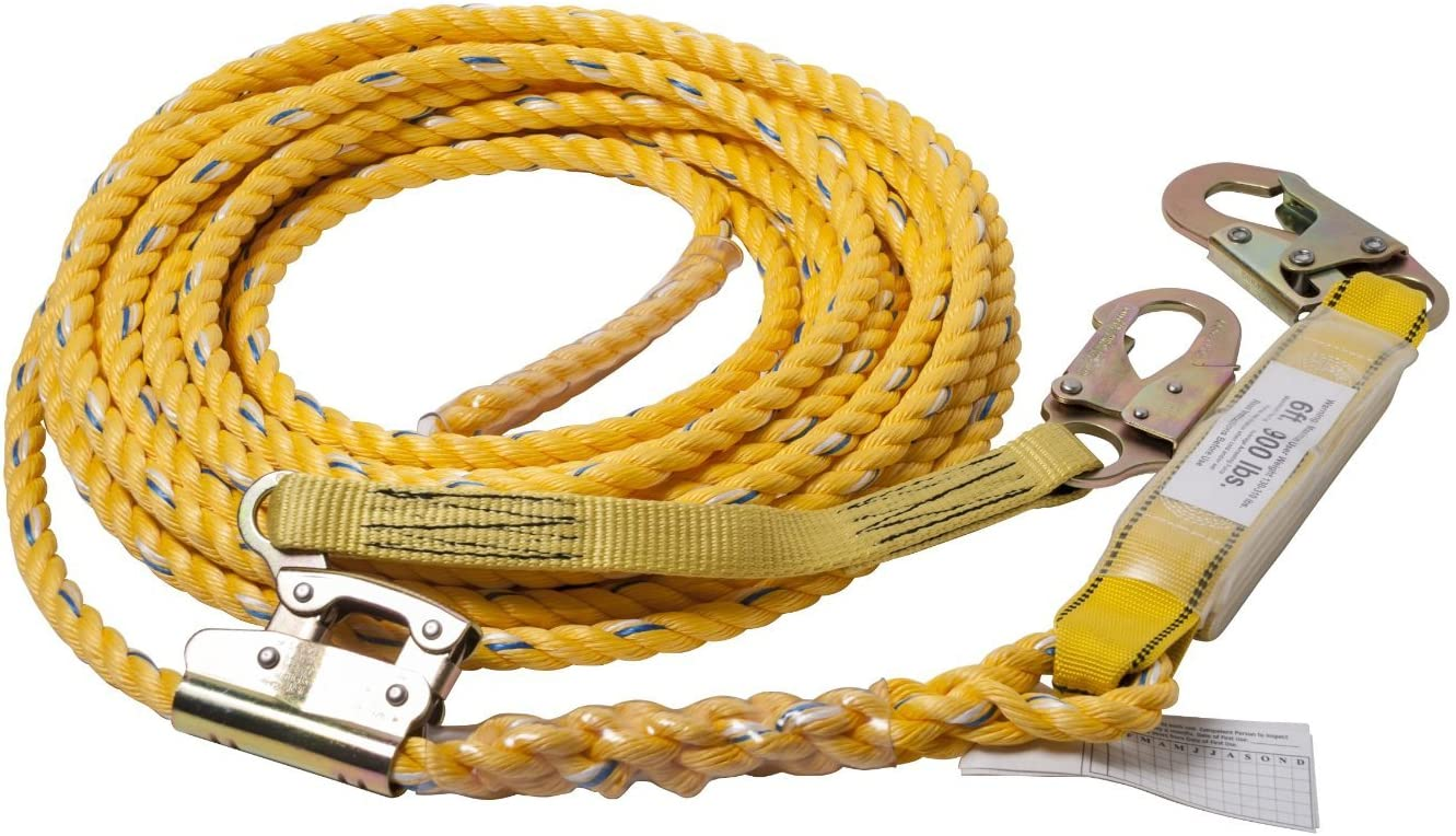 Guardian Fall Protection 01320 VLA-50 Poly Steel Vertical Lifeline Assembly, 50-Foot - Fall Arrest Restraint Ropes And Lanyards -