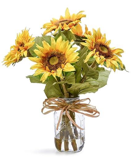 Amazon country sunflowers silk flower arrangement home kitchen country sunflowers silk flower arrangement mightylinksfo