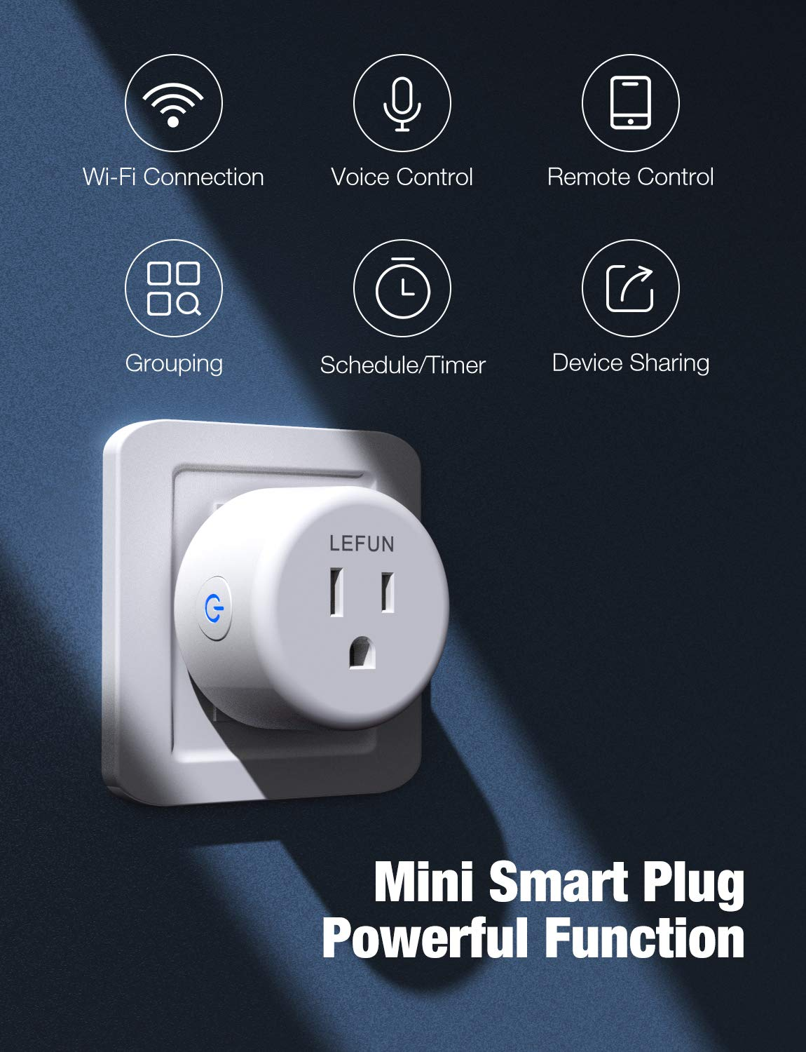 New Version Smart Plug, LeFun WiFi Outlet Grouping Control 4-Pack Compatible with Alexa Google Assistant and IFTTT, No Hub Required, App Remote Control Smart Outlet Plug Timer Schedules, FCC ETL