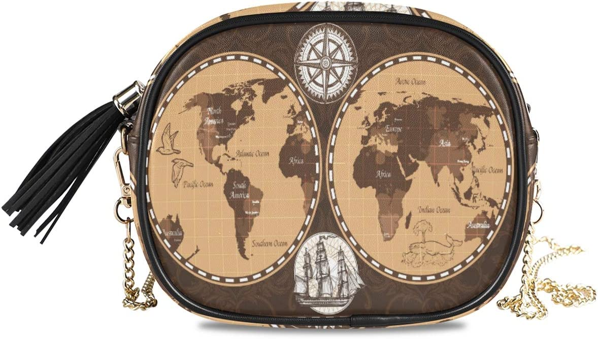 ALAZA Women's Brown Color Retro Nautical World Map Fashion Purses Bag with Metal Chain Strap for Travel Shopping