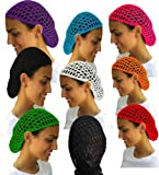 12 Beautiful Colored Short Hair Net Snoods - Value Pack By CoverYourHair®